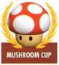 Mario Kart: Super Circuit promotional artwork: The Mushroom Cup emblem.