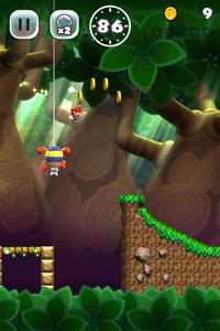 Screenshot of Scuttlebug Forest from Super Mario Run.