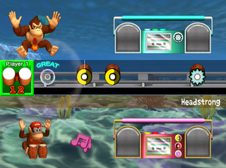 Duet of Donkey Kong and Diddy Kong in the Concert mode of Donkey Konga 2