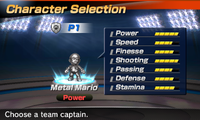 Metal Mario's stats in the soccer portion of Mario Sports Superstars