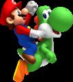 NSMBW Mario and Yoshi Jumping Artwork.png