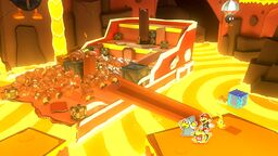 Paper Macho Goombas dropping into Hotfoot Crater in Paper Mario: The Origami King