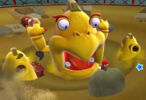 Screenshot of Squizzard in Slipsand Galaxy from Super Mario Galaxy. This image was cropped to provide readers with a recent view of the boss without distorting the proportions of the boss chart being prepared for the Super Mario Galaxy 2 page.