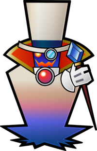 Concept artwork of Count Bleck with his cape remaining closed, from Super Paper Mario