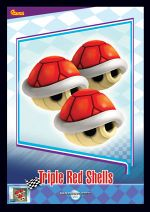 The Triple Red Shells card from the Mario Kart Wii trading cards
