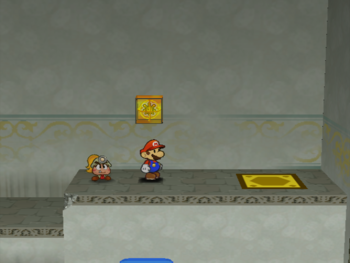 Mario next to the Shine Sprite in the warp area of Rogueport Sewers in Paper Mario: The Thousand-Year Door.