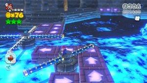 Luigi sighting in Boiling Blue Bully Belt in Super Mario 3D World.