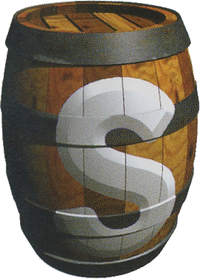 Artwork of a Switch Barrel on the barrel setting from Donkey Kong Country 3: Dixie Kong's Double Trouble!