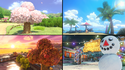 Preview art for all four seasons of Animal Crossing in Mario Kart 8.