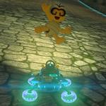 Lakitu performing a trick. Mario Kart 8.