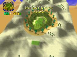 Hole 2 of Shy Guy Desert from Mario Golf