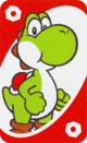 The Red Zero card from the UNO Super Mario deck (featuring Yoshi)