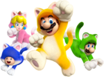 Artwork of the four playable characters in their Cat form, from Super Mario 3D World.