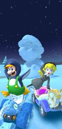The splash screen of the Ice Tour from Mario Kart Tour