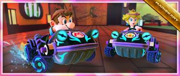 """The """"Celebrating the Mario vs. Peach Tour! Dark Hop Rod"""" Pack from the Mario vs. Peach Tour in Mario Kart Tour"""