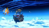 Bowser's Airship in the sky battling the Paper Plane Squadron