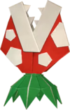 An origami Jumping Piranha Plant from Paper Mario: The Origami King.