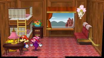 Mario next to the Shine Sprite in Cabin 5 of Excess Express in Paper Mario: The Thousand-Year Door.