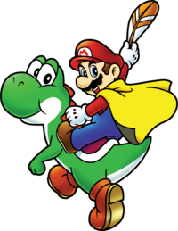 Caped Mario holding a Cape Feather while he is mounted on Yoshi, from Super Mario World: Super Mario Advance 2.