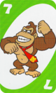 The Green Seven card from the UNO Super Mario deck (featuring Donkey Kong)