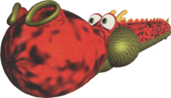 Artwork of a red dragon from Yoshi's Story