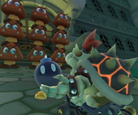 The icon of the Dry Bowser Cup challenge from the 2019 Paris Tour and the Baby Mario Cup challenge from the Jungle Tour in Mario Kart Tour.