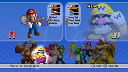 The Captain Select screen from Mario Super Sluggers.