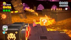 Bowser's Lava Lake Keep in the game Super Mario 3D World.