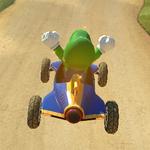 Luigi performing a trick in Mario Kart 8.