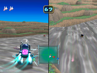 Robo-Rabbit Competition in Mario Party 5. Bowser is suffering from post-damage invincibility frames.