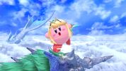 Kirby utilizing Mythra's Lightning Buster as his Copy ability from Super Smash Bros. Ultimate.