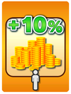 A Venture Card from Fortune Street indicating a player taking 10% of another player's Gold