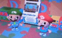 Two players dressed as Mario and Luigi.