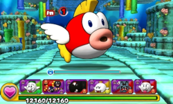 Screenshot of World 3-3, from Puzzle & Dragons: Super Mario Bros. Edition.