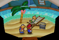 Mario and Kooper in the house of a Koopa Troopa listening to radio in Koopa Village in Paper Mario