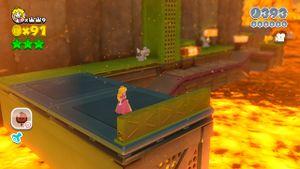 Luigi sighting in Simmering Lava Lake in Super Mario 3D World.