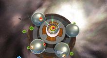 A screenshot of Mario on the final planet of the Battle Belt Galaxy.