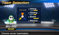 Green Shy Guy's stats in the baseball portion of Mario Sports Superstars