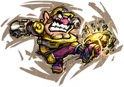 Artwork of Wario in Mario Strikers Charged.