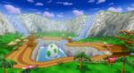 View of Yoshi Falls in Mario Kart Wii