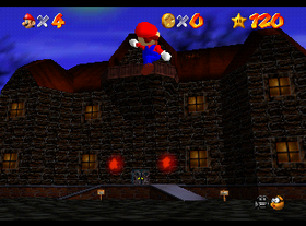 Mario outside the mansion in Big Boo's Haunt.