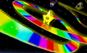 The icon for Rainbow Road, from Mario Kart 64.