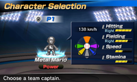 Metal Mario's stats in the baseball portion of Mario Sports Superstars