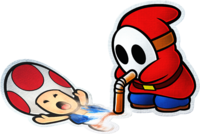 Artwork of a Toad and a Slurp Guy from Paper Mario: Color Splash.