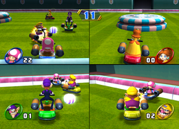 Toadette pursuing Wario in Scooter Pursuit from Mario Party 8