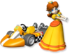 Artwork of Princess Daisy with her standard kart from Mario Kart Wii