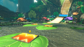 Lily pads help players dive across the lake.