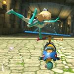 Rosalina performing a trick. Mario Kart 8.