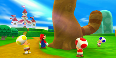 Mario and Toads looking up the Tanooki Leaf tree.