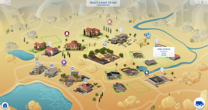 Hover-over text is fun! Can any of you readers find it? I doubt you realize that it's indeed possible! Oasis Springs is beautiful and I wouldn't fault anyone for living here but more importantly, it's a base game world and you don't need extra expansion packs for this!